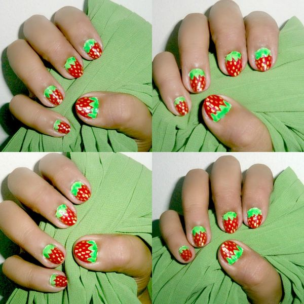 Strawberry Design Nail Art