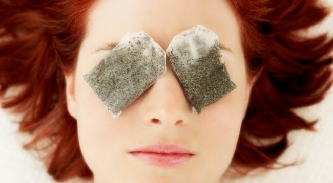 Put the green tea bag on the eye
