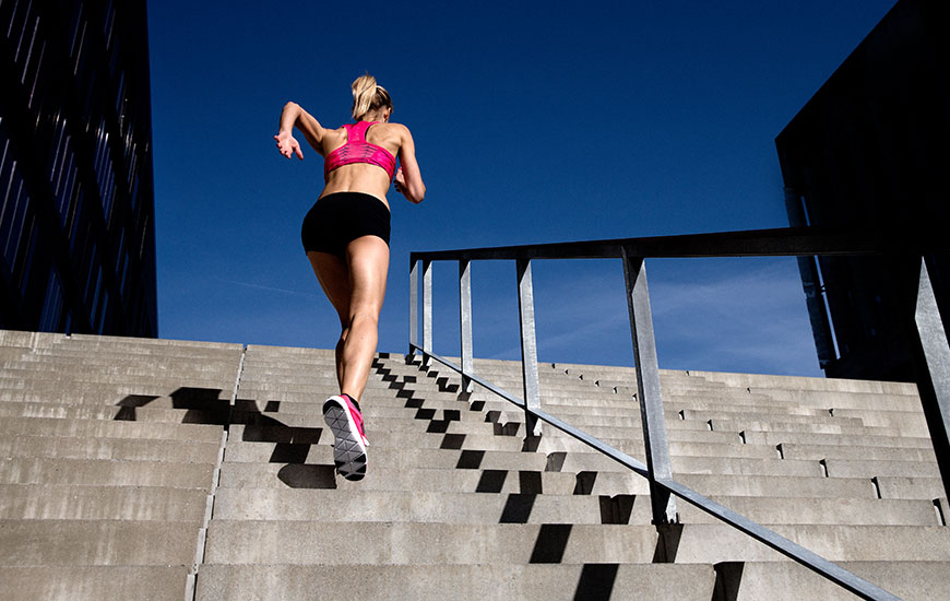 women run the stairs