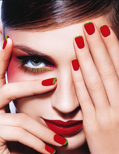 women with nail art