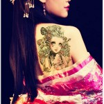 Gothic girl tattoo sticker