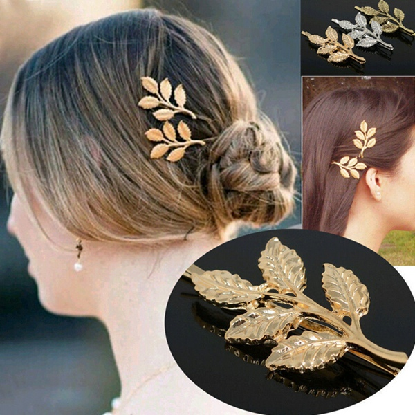 gold leaves hair clip