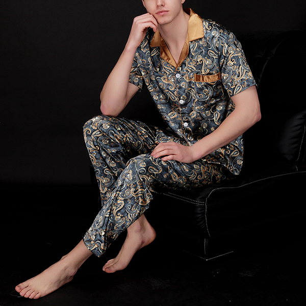 Mens Silk Pajamas Sets